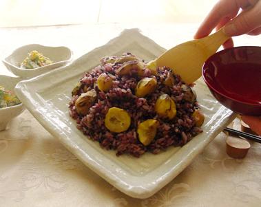古代米で栗ご飯