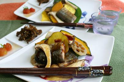 サンマと秋野菜
