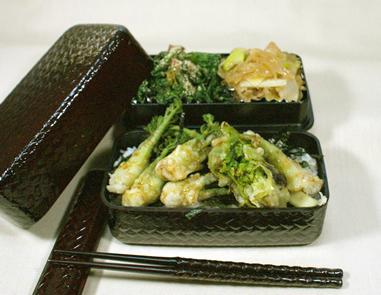 山菜の天丼弁当